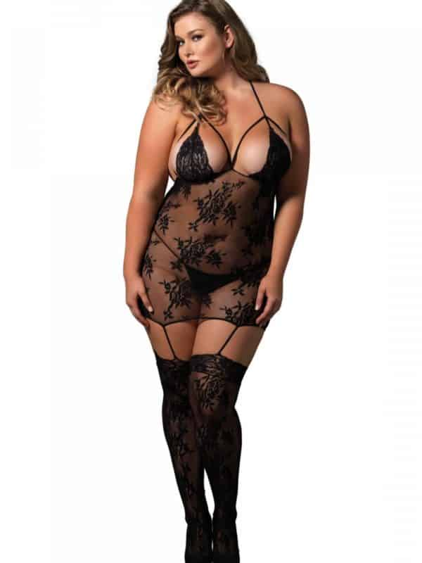 Strappy suspender bodystocking plus size