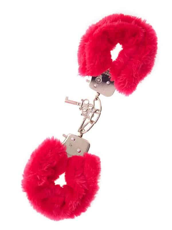Χειροπέδες μεταλλικές με γουνάκι κόκκινο από την NMC