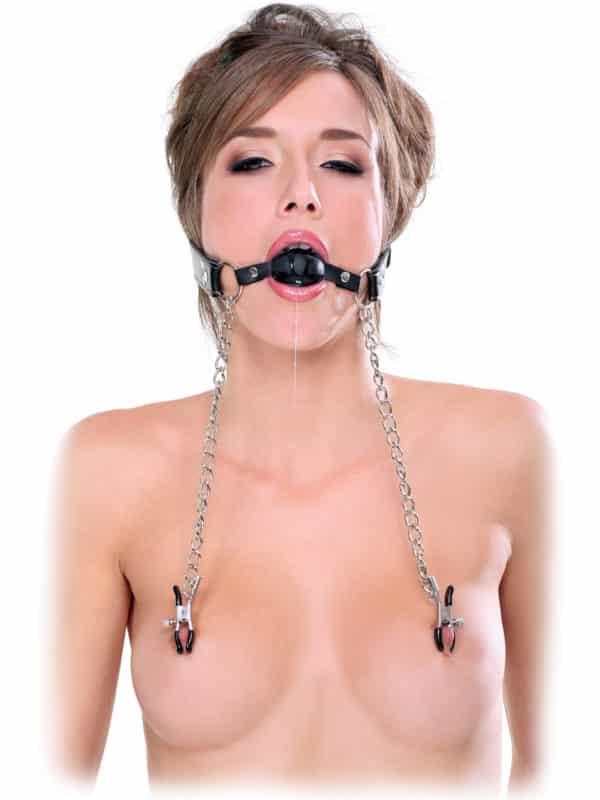 Ball Gag & Nipple Clamps Pipedream φίμωτρο