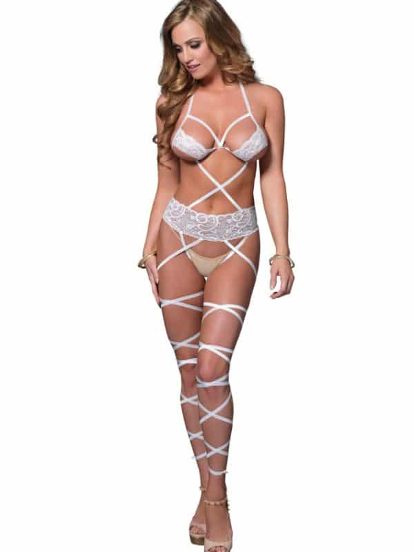 Lace wrap around bodystocking leg avenue