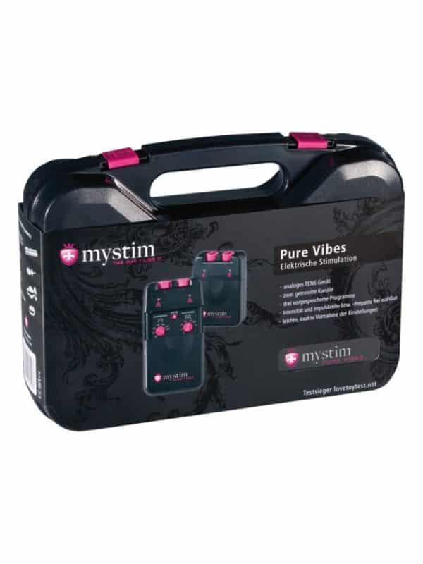 Κιτ ηλεκτροδιέγερσης Mystim Tens Unit 3F Pure Vibes Το Mystim pure vibe είναι ένα ολοκληρωμένο επαγγελματικό σετ ηλεκτροδιέγερσης . Περιέχει τα απαραίτητα για να πραγματοποιήσετε την ηλεκτροδιέγερση σε διάφορα σημεία σώματος.
