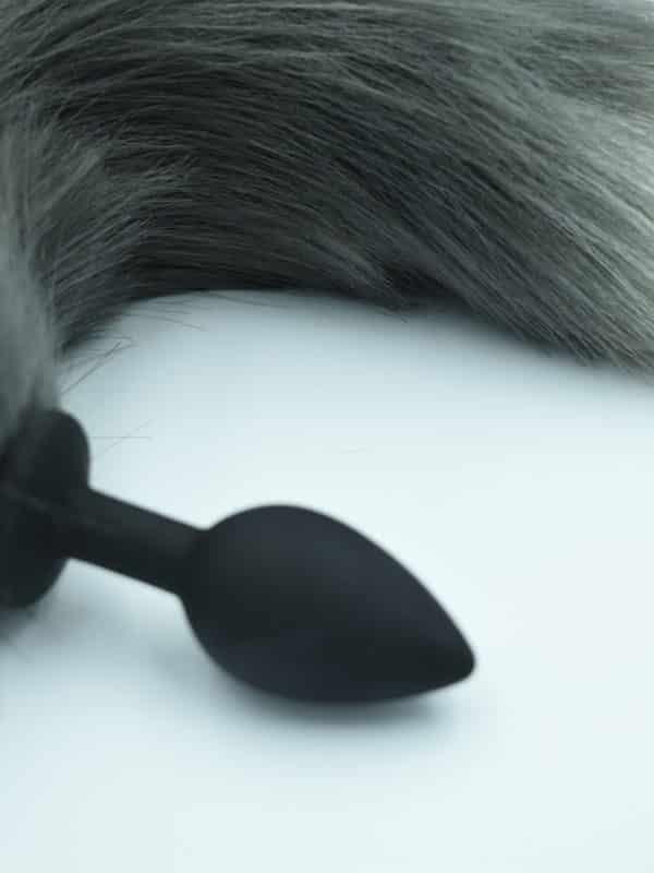 Σφήνα σιλικόνης με ουρά αλεπούς μαύρο άσπρο