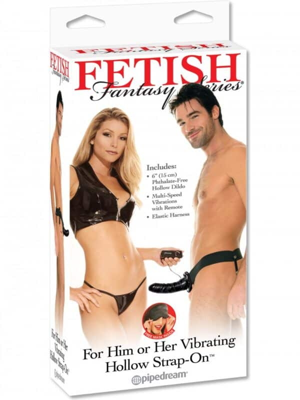 Hollow Strap-on μαύρο vibrating for Him and Her 15cm