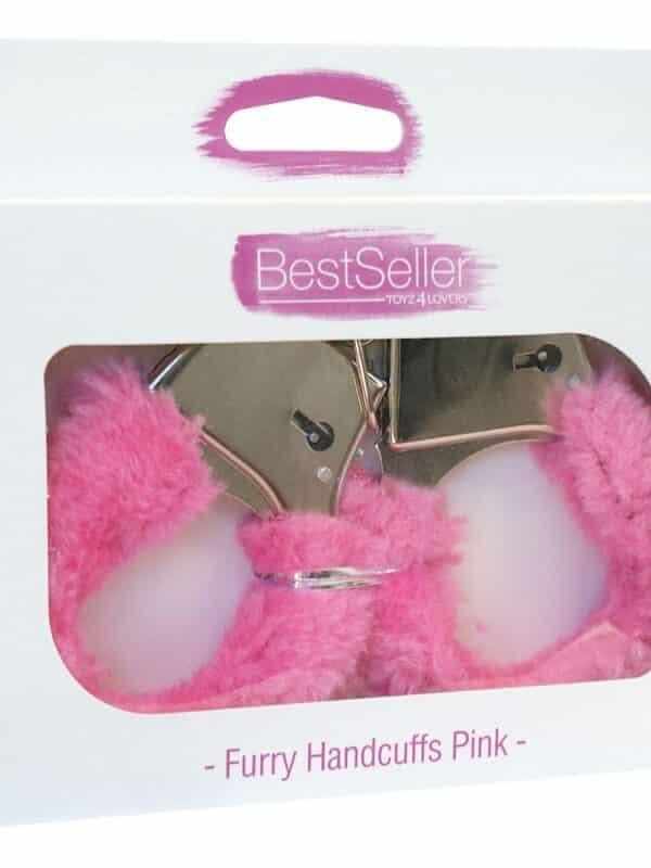 Χειροπέδες Bestseller με ροζ γούνα μεταλλικές