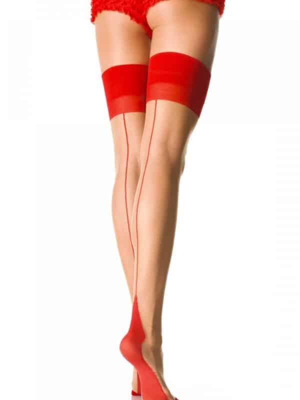 Κάλτσα με διχρωμία κόκκινο και μπεζ