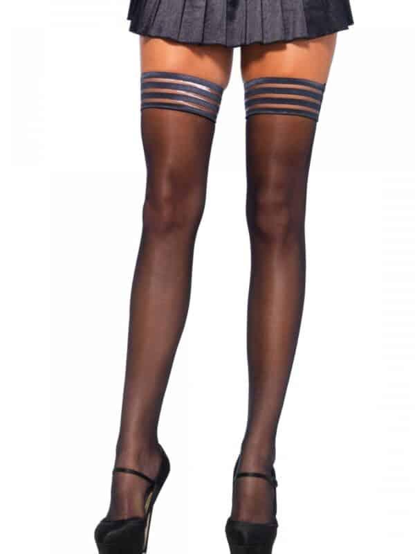 Μαύρες διάφανες κάλτσες με σιλικόνη για να στέκονται