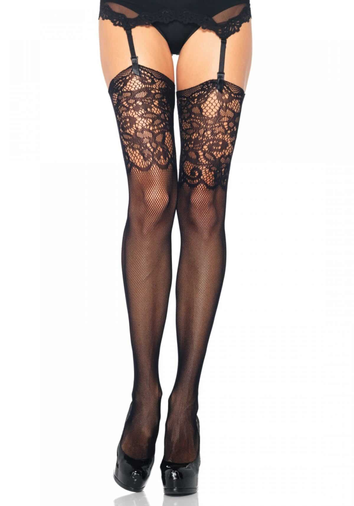 Fishnet Stockings w. Lace Top Leg Avenue
