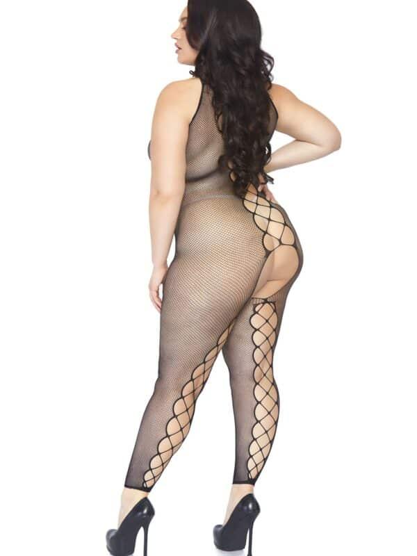 Footless bodystocking plus size ολόσωμο δίχτυ