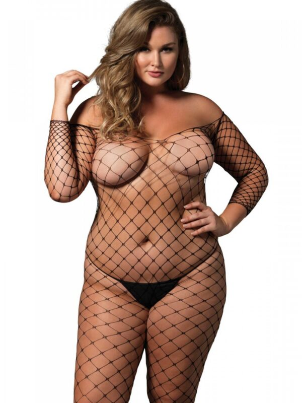 Pluse size Off the shoulder bodystocking leg avenue