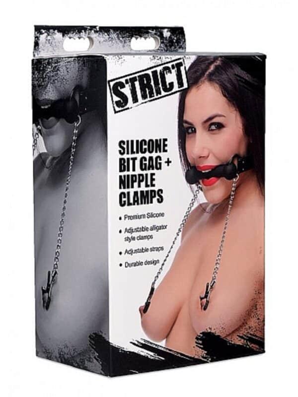 Silicone Bit Gag Nipple Clamps Black
